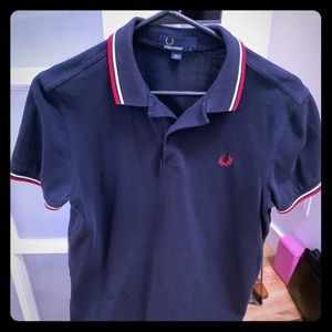 Fred Perry Polo Shirt, Size Small, Navy.